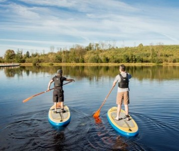 Couple stand up paddles on lake