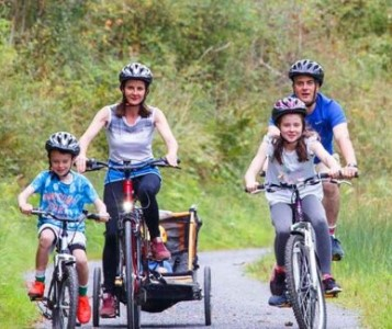 Family Cycling on County Lane in leitrim